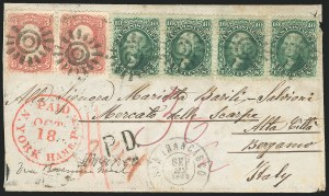 Sale Number 834, Lot Number 353, 1861-66 Issue (67 to 69)3c Rose, 10c Yellow Green (65, 68), 3c Rose, 10c Yellow Green (65, 68)