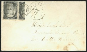 Sale Number 834, Lot Number 400, Specialized Collection of 1863-68 Black Jack Issues2c Black, Vertical Half Used as 1c (73d), 2c Black, Vertical Half Used as 1c (73d)