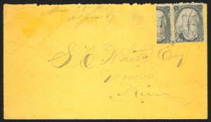 Sale Number 834, Lot Number 406, Specialized Collection of 1863-68 Black Jack Issues2c Black, F. Grill, Vertical Half Used as 1c (93a), 2c Black, F. Grill, Vertical Half Used as 1c (93a)