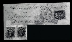 Sale Number 834, Lot Number 440, Specialized Collection of 1863-68 Black Jack Issues2c Black, 10c Yellow Green (68, 73), 2c Black, 10c Yellow Green (68, 73)