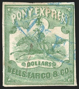 Sale Number 834, Lot Number 749, Wells, Fargo & Co. and Pony ExpressWells, Fargo & Co. Pony Express, $4.00 Green (143L2), Wells, Fargo & Co. Pony Express, $4.00 Green (143L2)