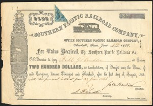 Sale Number 834, Lot Number 789, Railroad Cancellations on Revenue StampsSouthern Pacific Railroad Company, Southern Pacific Railroad Company