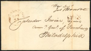 Sale Number 834, Lot Number 8, Presidential Autographs and Free FranksJames Monroe, James Monroe