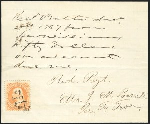 Sale Number 834, Lot Number 805, U.S. Postage Used as Revenues30c Orange (71), 30c Orange (71)