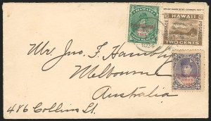 Sale Number 834, Lot Number 832, Hawaii1893, 1c Green, 2c Dull Violet, Red Ovpts., 2c Brown (55, 57, 75), 1893, 1c Green, 2c Dull Violet, Red Ovpts., 2c Brown (55, 57, 75)