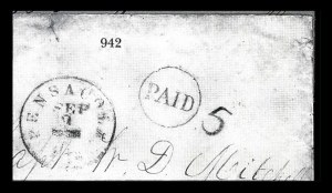 Sale Number 834, Lot Number 942, Handstamped Paid and Due Markings (Ala. thru Miss.)Pensacola Fla. Sep. 9, Pensacola Fla. Sep. 9