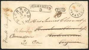 Sale Number 834, Lot Number 948, Handstamped Paid and Due Markings (Ala. thru Miss.)Columbus Ky. Jan. -, Columbus Ky. Jan. -