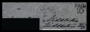 Sale Number 834, Lot Number 956, Handstamped Paid and Due Markings (N.C. thru S.C)Flat Rock N.C. Oct. 28, Flat Rock N.C. Oct. 28