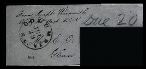 Sale Number 834, Lot Number 964, Handstamped Paid and Due Markings (N.C. thru S.C)Columbia S.C. Jul. 23, Columbia S.C. Jul. 23