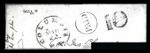Sale Number 834, Lot Number 965A, Handstamped Paid and Due Markings (N.C. thru S.C)Columbia S.C. Mar. 22, Columbia S.C. Mar. 22