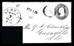 Sale Number 834, Lot Number 972, Handstamped Paid and Due Markings (N.C. thru S.C)Sumter S.C. Dec. 7, 1861, Sumter S.C. Dec. 7, 1861