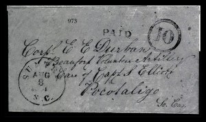 Sale Number 834, Lot Number 973, Handstamped Paid and Due Markings (N.C. thru S.C)Sumter S.C. Aug. 8, 1861, Sumter S.C. Aug. 8, 1861
