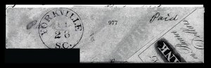 Sale Number 834, Lot Number 977, Handstamped Paid and Due Markings (N.C. thru S.C)Yorkville S.C. Jul. 28, Yorkville S.C. Jul. 28
