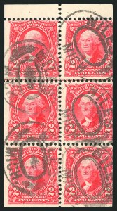 Sale Number 835, Lot Number 360, 1902-08 Issues2c Carmine, Booklet Pane of Six (301c), 2c Carmine, Booklet Pane of Six (301c)