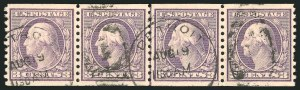 Sale Number 835, Lot Number 471, 1916-23 Washington-Franklin Issues (Scott 491 to 499b)3c Violet, Ty. I, Coil (493), 3c Violet, Ty. I, Coil (493)