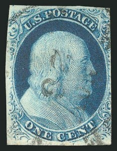 Sale Number 837, Lot Number 38, 1c 1851 Issue1c Blue, Ty. III, Position 99R2 (8), 1c Blue, Ty. III, Position 99R2 (8)