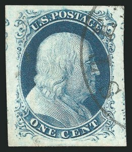 Sale Number 837, Lot Number 39, 1c 1851 Issue1c Blue, Ty. III (8), 1c Blue, Ty. III (8)