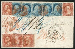 Sale Number 837, Lot Number 41, 1c 1851 Issue1c Blue, Ty. II, IIIA, 3c Brownish Carmine (7, 8A, 11), 1c Blue, Ty. II, IIIA, 3c Brownish Carmine (7, 8A, 11)