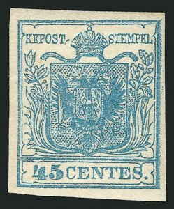 Sale Number 837, Lot Number 432, Lombardy-VenetiaLOMBARDY-VENETIA, 1850, 45c Blue, Ty. I (6a), LOMBARDY-VENETIA, 1850, 45c Blue, Ty. I (6a)