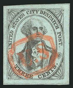 Sale Number 838, Lot Number 1034, Carriers & LocalsU.S. City Despatch Post, New York N.Y., 3c Black on Light Blue (6LB3), U.S. City Despatch Post, New York N.Y., 3c Black on Light Blue (6LB3)