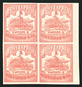 Sale Number 838, Lot Number 1036, Carriers & LocalsWells, Fargo & Co. Pony Express, $1.00 Red (143L3), Wells, Fargo & Co. Pony Express, $1.00 Red (143L3)
