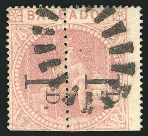 Sale Number 838, Lot Number 1157, Austria to British HondurasBARBADOS, 1878, 1p on Half of 5sh Dull Rose, Straight Serif, Unsevered Pair (58a), BARBADOS, 1878, 1p on Half of 5sh Dull Rose, Straight Serif, Unsevered Pair (58a)