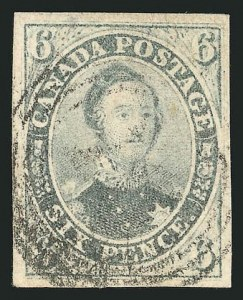 Sale Number 838, Lot Number 1177, Canada1857, 6p Gray Violet, Thick Hard Paper (5d; SG 19), 1857, 6p Gray Violet, Thick Hard Paper (5d; SG 19)