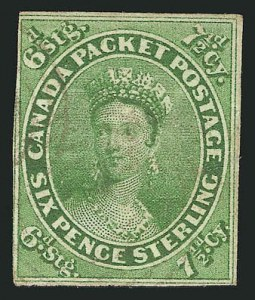 Sale Number 838, Lot Number 1184, Canada1857, 7-1/2p Green (9; SG 12), 1857, 7-1/2p Green (9; SG 12)