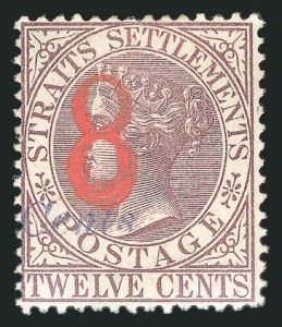Sale Number 838, Lot Number 1322, Nova Scotia to Negri SembilanSTRAITS SETTLEMENTS, 1884, 8c on 8c on 12c Violet Brown, Red & Blue Overprints (66; SG 80b), STRAITS SETTLEMENTS, 1884, 8c on 8c on 12c Violet Brown, Red & Blue Overprints (66; SG 80b)