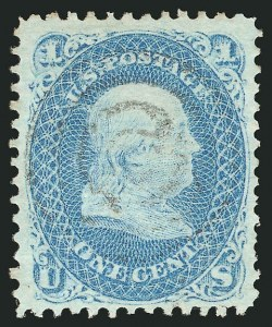Sale Number 838, Lot Number 253, 1867-68 Grilled Issue (E Grills)1c Blue, E. Grill (86), 1c Blue, E. Grill (86)