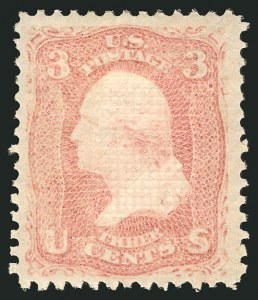 Sale Number 838, Lot Number 255, 1867-68 Grilled Issue (E Grills)3c Rose, E. Grill (88), 3c Rose, E. Grill (88)