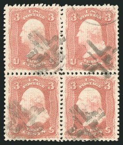 Sale Number 838, Lot Number 256, 1867-68 Grilled Issue (E Grills)3c Rose, E. Grill (88), 3c Rose, E. Grill (88)