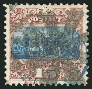 Sale Number 838, Lot Number 320, 1869 Pictorial Issue (15c)15c Brown & Blue, Ty. I, Double Grill (118 var), 15c Brown & Blue, Ty. I, Double Grill (118 var)