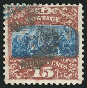 Sale Number 838, Lot Number 325, 1869 Pictorial Issue (15c)15c Brown & Blue, Ty. II (119), 15c Brown & Blue, Ty. II (119)
