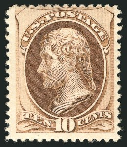 Sale Number 838, Lot Number 438, 1870-88 Bank Note Issues (Scott 178 - 190)10c Brown, Without Secret Mark (187), 10c Brown, Without Secret Mark (187)