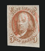 Sale Number 838, Lot Number 51, 5c 1847 Issue5c Red Brown (1), 5c Red Brown (1)