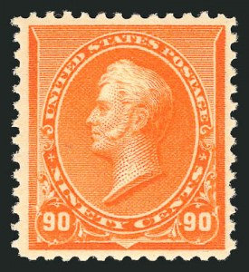 Sale Number 838, Lot Number 513, 1890 Small Bank Note Issue90c Orange (229). Mint N.H, 90c Orange (229). Mint N.H