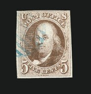 Sale Number 838, Lot Number 52, 5c 1847 Issue5c Red Brown (1), 5c Red Brown (1)