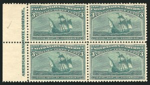 Sale Number 838, Lot Number 572, 1893 Columbian Issue Blocks3c Columbian (232), 3c Columbian (232)