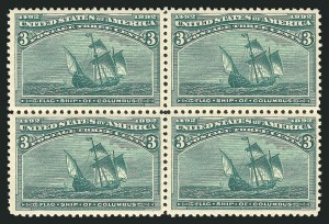 Sale Number 838, Lot Number 573, 1893 Columbian Issue Blocks3c Columbian (232), 3c Columbian (232)