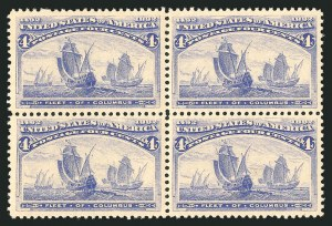 Sale Number 838, Lot Number 575, 1893 Columbian Issue Blocks4c Columbian (233), 4c Columbian (233)