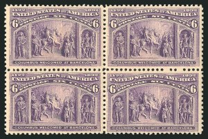 Sale Number 838, Lot Number 578, 1893 Columbian Issue Blocks6c Columbian (235), 6c Columbian (235)
