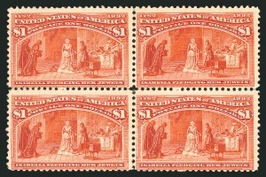 Sale Number 838, Lot Number 580, 1893 Columbian Issue Blocks$1.00 Columbian (241), $1.00 Columbian (241)