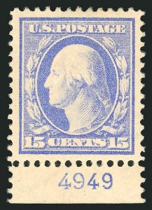 Sale Number 838, Lot Number 744, Washington-Franklin Issues (Scott 376 to 396)15c Pale Ultramarine (382), 15c Pale Ultramarine (382)