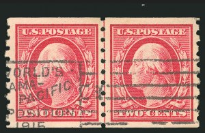 Sale Number 838, Lot Number 748, Washington-Franklin Issues (Scott 376 to 396)2c Carmine, Coil (393), 2c Carmine, Coil (393)