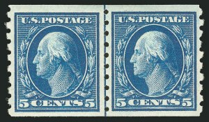 Sale Number 838, Lot Number 752, Washington-Franklin Issues (Scott 376 to 396)5c Blue, Coil (396), 5c Blue, Coil (396)