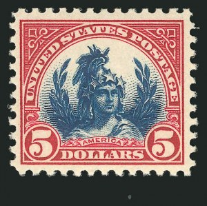 Sale Number 838, Lot Number 895, 1922 and Later Issues$5.00 Carmine Lake & Dark Blue (573a), $5.00 Carmine Lake & Dark Blue (573a)