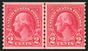 Sale Number 838, Lot Number 908, 1922 and Later Issues2c Carmine, Joint Line Pair, Ty. I, II (599-599A), 2c Carmine, Joint Line Pair, Ty. I, II (599-599A)