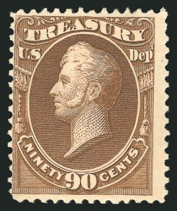 Sale Number 838, Lot Number 987, Officials90c Treasury, Soft Paper (O113), 90c Treasury, Soft Paper (O113)