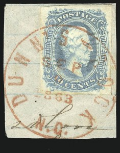 Sale Number 840, Lot Number 288, General Issues Off-Cover (No. 11-14)10c Milky Blue, Die A (11a), 10c Milky Blue, Die A (11a)